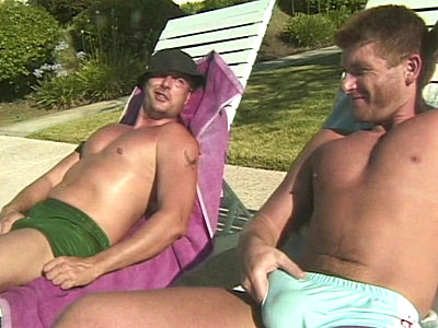 Poolside Muscle mentum Threesome